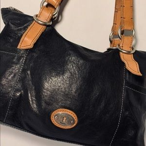 Authentic black leather Fossil purse